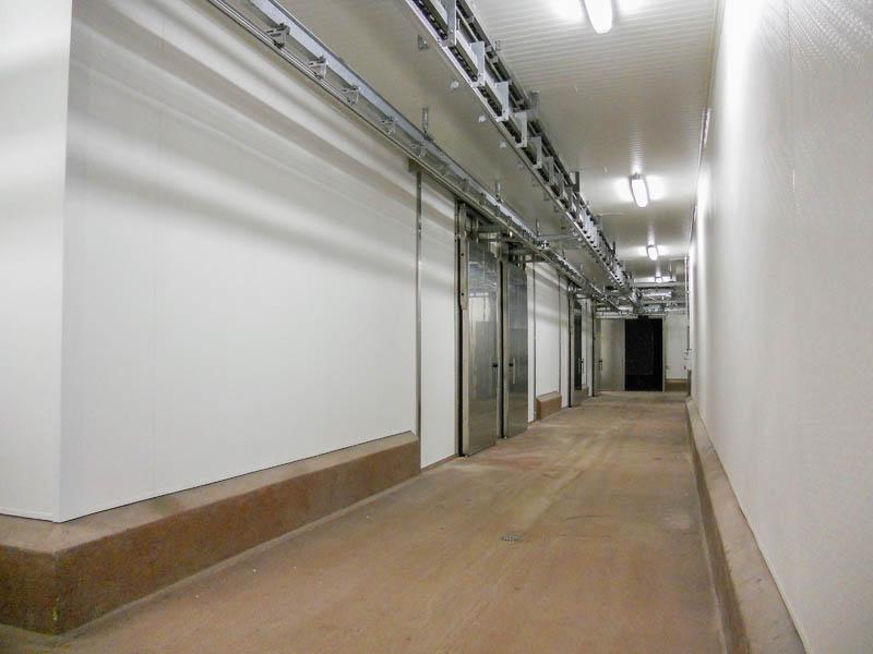 Installatie hygiënische wanden en plafonds in slachthuis