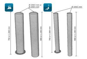 Inox stootpalen met of zonder vloerplaat